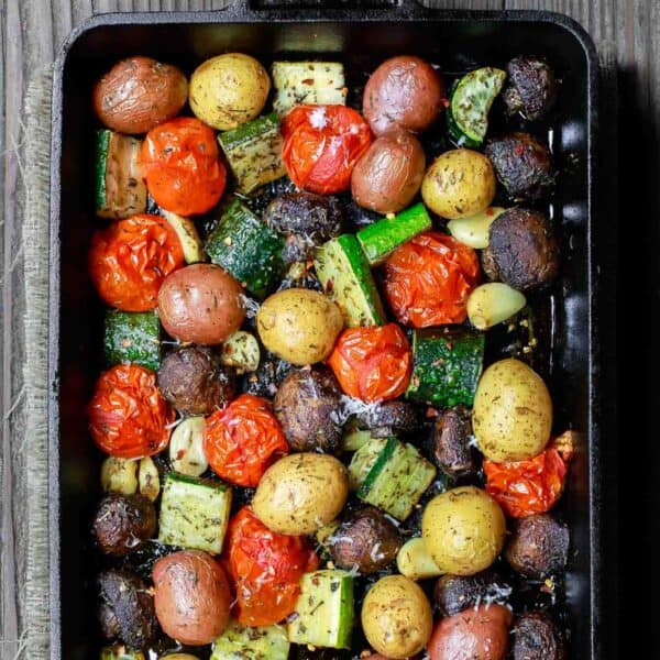Roasted vegetables in large baking pan