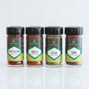 Exotic 4-pack bundle, includes Aleppo pepper, harissa, sumac, and zaatar.
