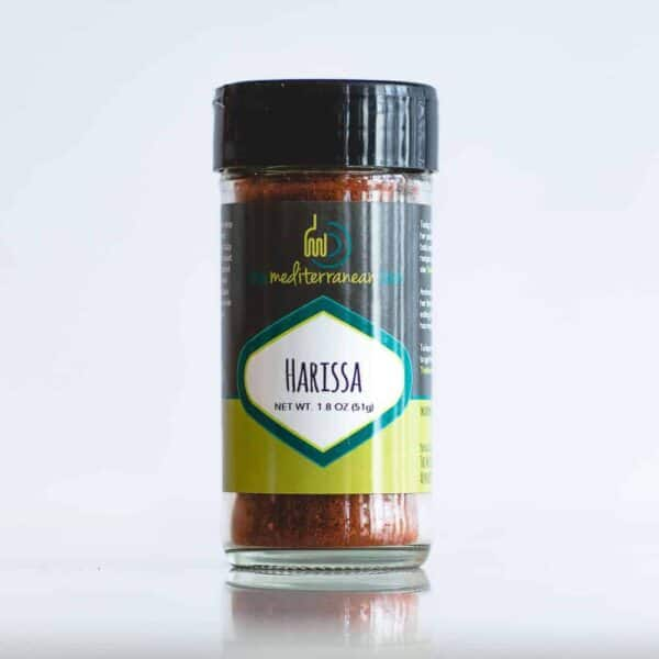 Individual bottle of harissa spice.