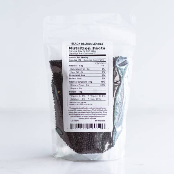 Nutrition label for black lentils