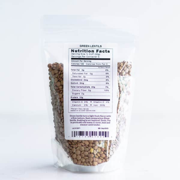 Nutrition label for green lentils