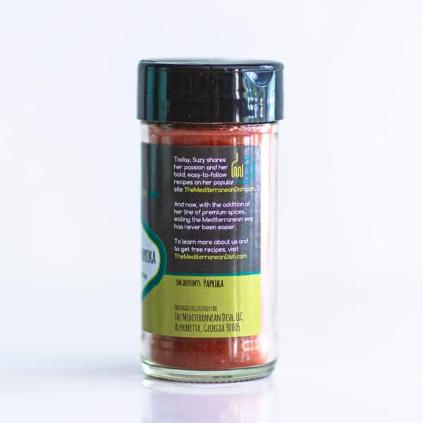 Side view of a bottle of paprika