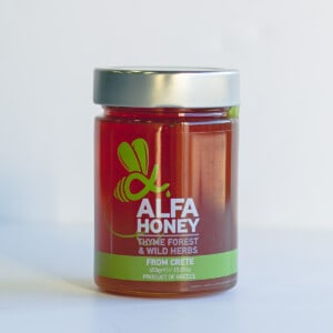 Large jar of Alfa honey
