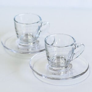 Set of two clear espresso cups