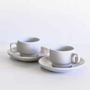 Set of two white espresso cups