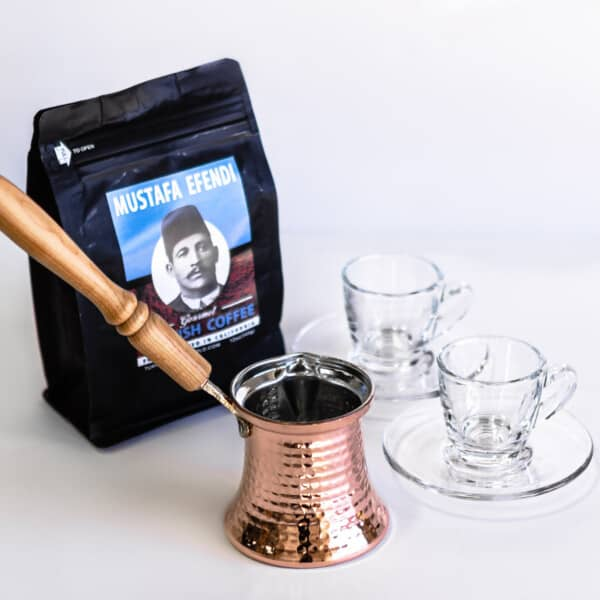 Turkish coffee set with two clear cups