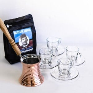 Turkish coffee set with four clear cups