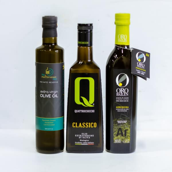 Olive oil bundle consisting of bottles from Greece, Italy and Spain