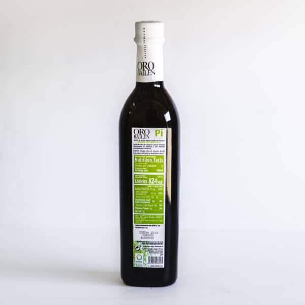 Back view of the bottle of extra virgin olive oil