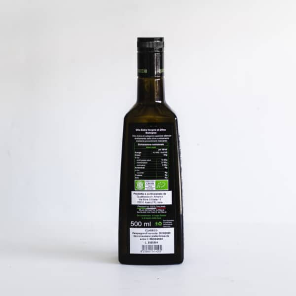 Back view of bottle of Quattrociocchi extra virgin olive oil