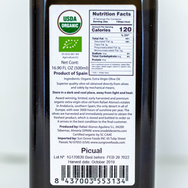 Nutrition label for Spanish extra virgin olive oil