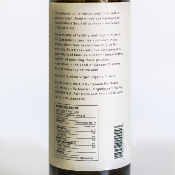Nutrition facts for Rumi extra virgin olive oil