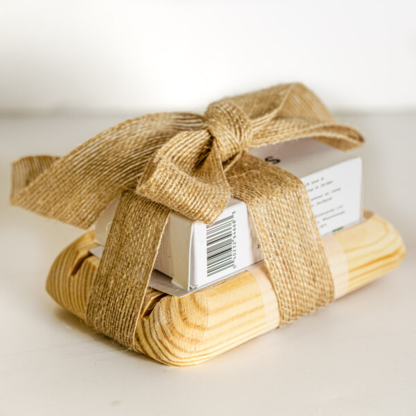 Olive oil soap with wooden soap dish, wrapped in a bow